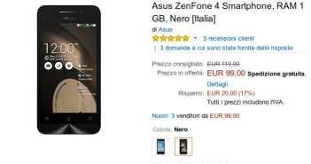 Asus ZenFone 4 in promozione a 99€
