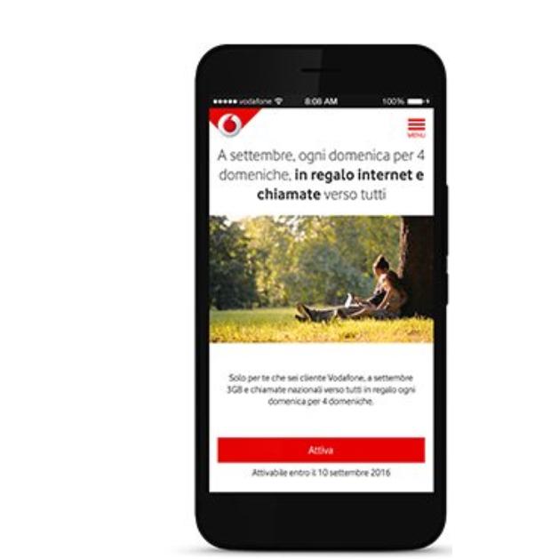 Vodafone Domeniche in Regalo: 3GB e chiamate gratis