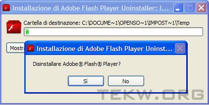 Installazione di Adobe Flash Player Uninstaller